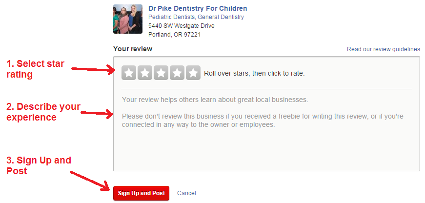 yelp review steps